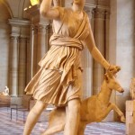 "Artemis with a hind, better known as ""Diana of Versailles"". Marble, Roman artwork, Imperial Era (1st-2nd centuries CE). Found in Italy."